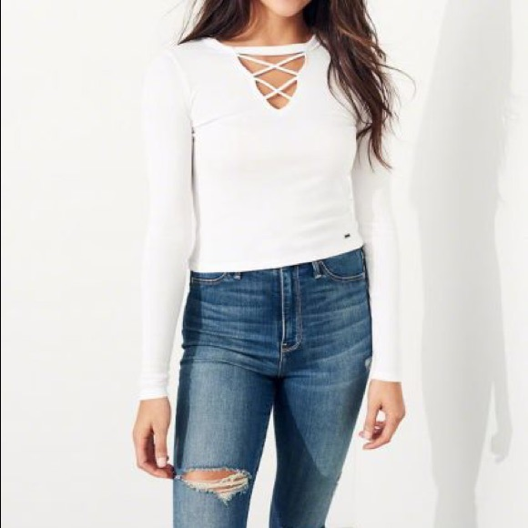 "Hollister Tops - HOLLISTER ""must have"" ribbed white long sleeve"